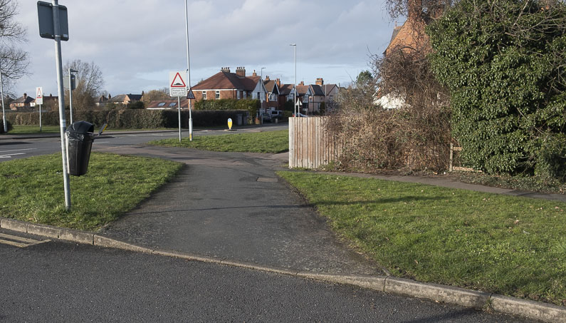 A section of lowered kerb to show a crossing point