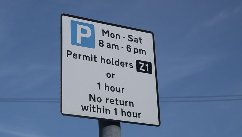 Sign showing permit holders parking