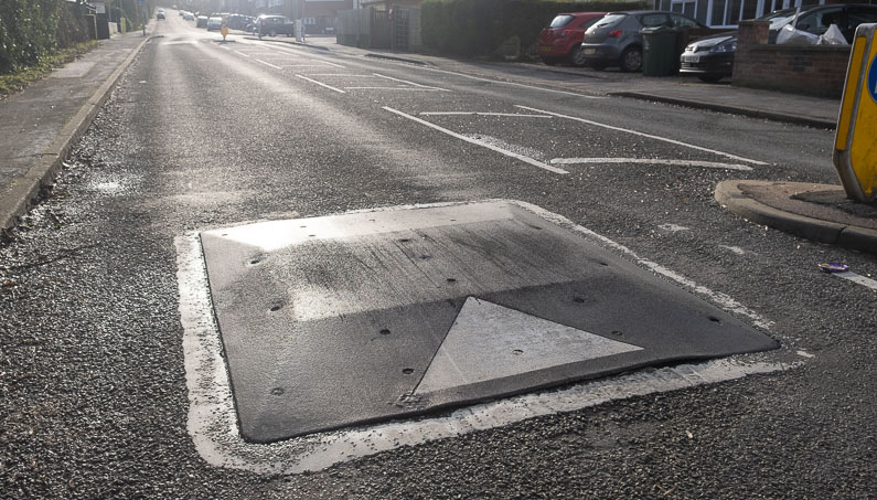 Speed cushion in the road