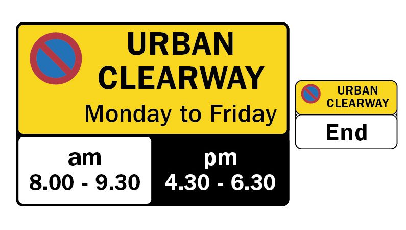 Urban clearway sign showing the restrictions